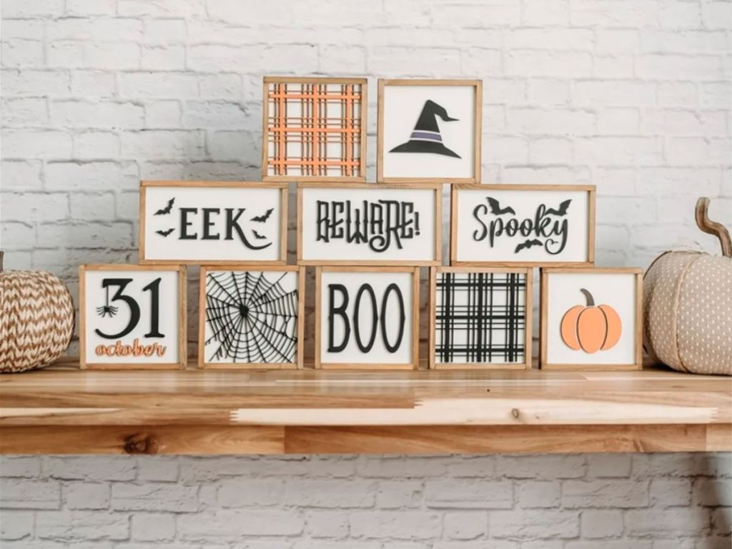 Halloween signs on wood table