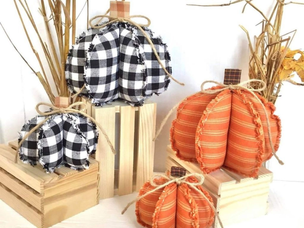 rag style buffalo check and striped pumpkins on crates