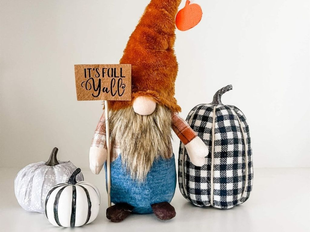 festive fall Gnome holding it's fall yall sign
