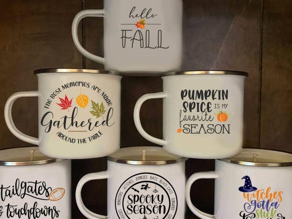 Halloween themed candle mugs