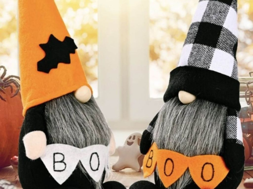 festive Halloween Gnomes holding Boo banners