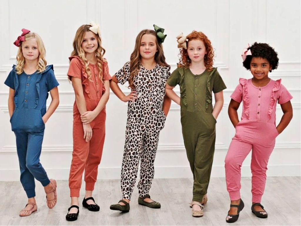 girls wearing jumpsuits