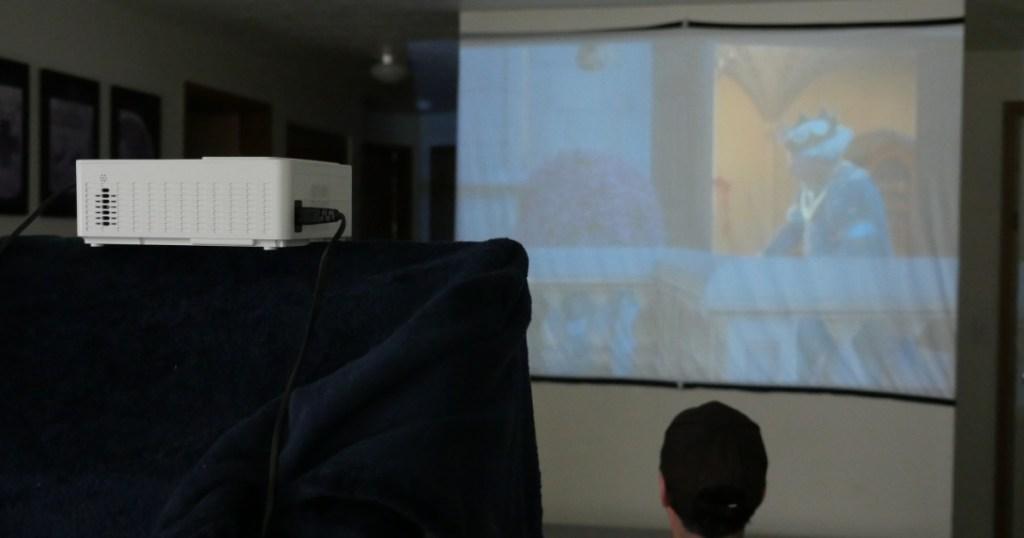 keepwise projector + screen playing shrek