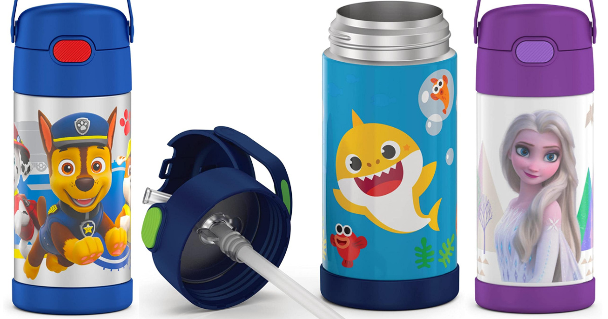 stainless steel water bottles with paw patrol, baby shark, and disney frozen elsa