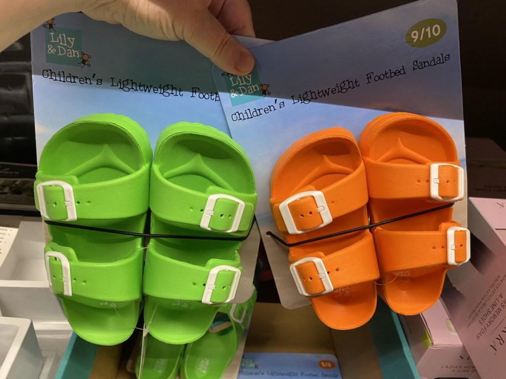 green and orange kids sandals