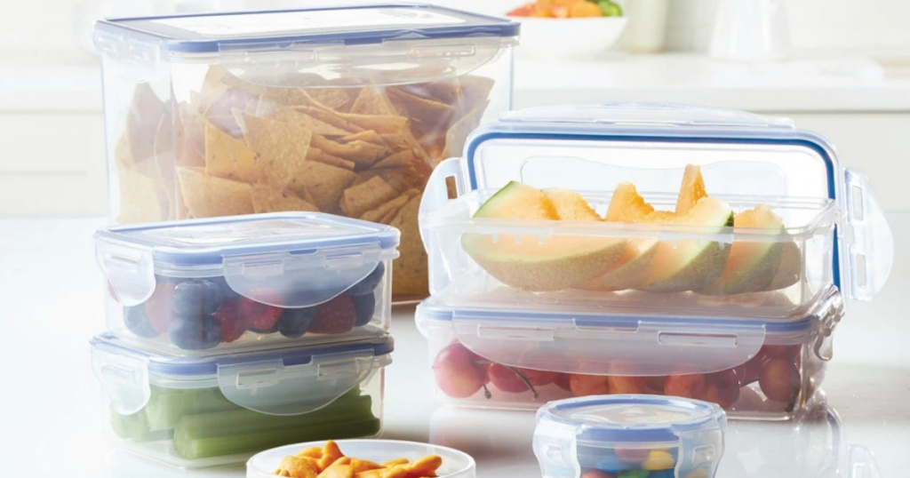 lock n lock rectangular storage containers with food
