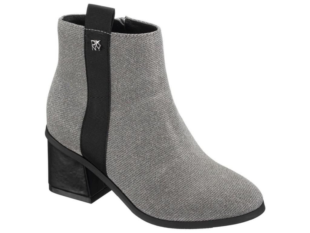 gray and black block heel shoes