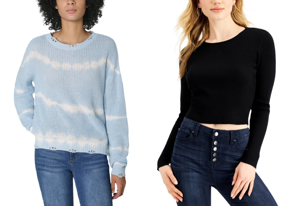 blue and white tie dye sweater and black sweater