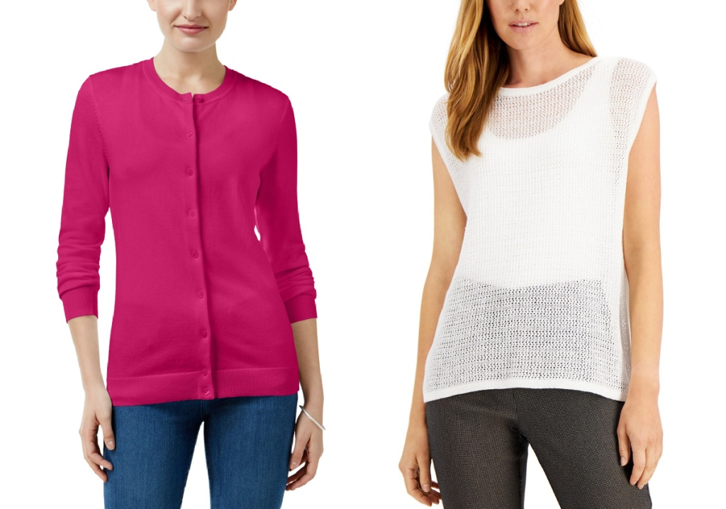 women wearing pink sweater and white see through knit sweater