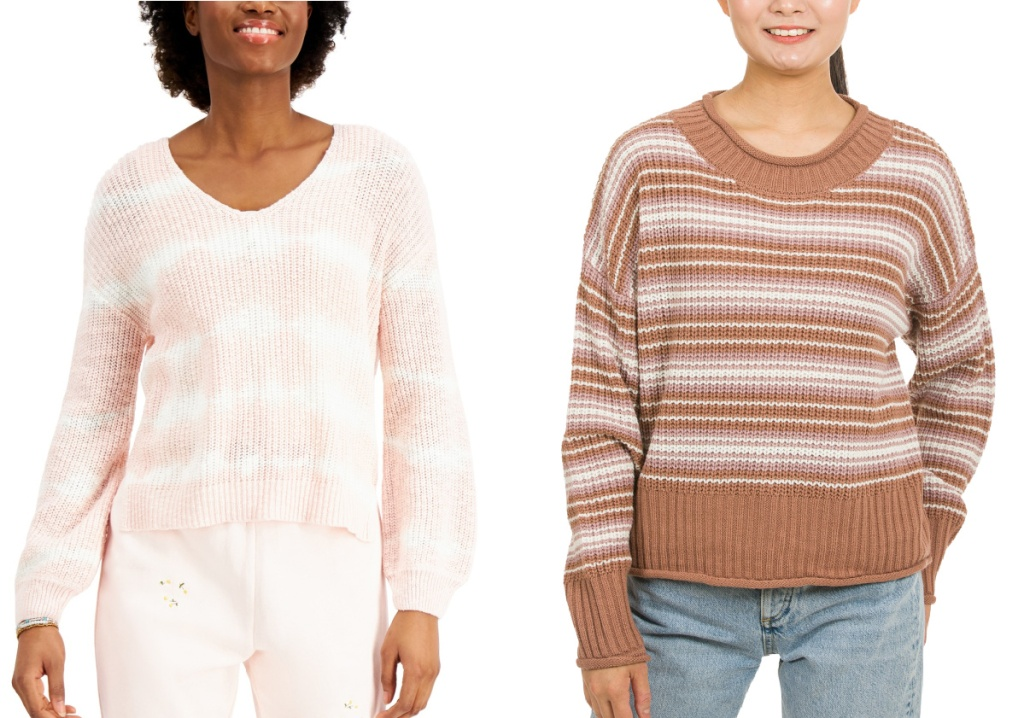 blush and white sweater and brown striped sweater