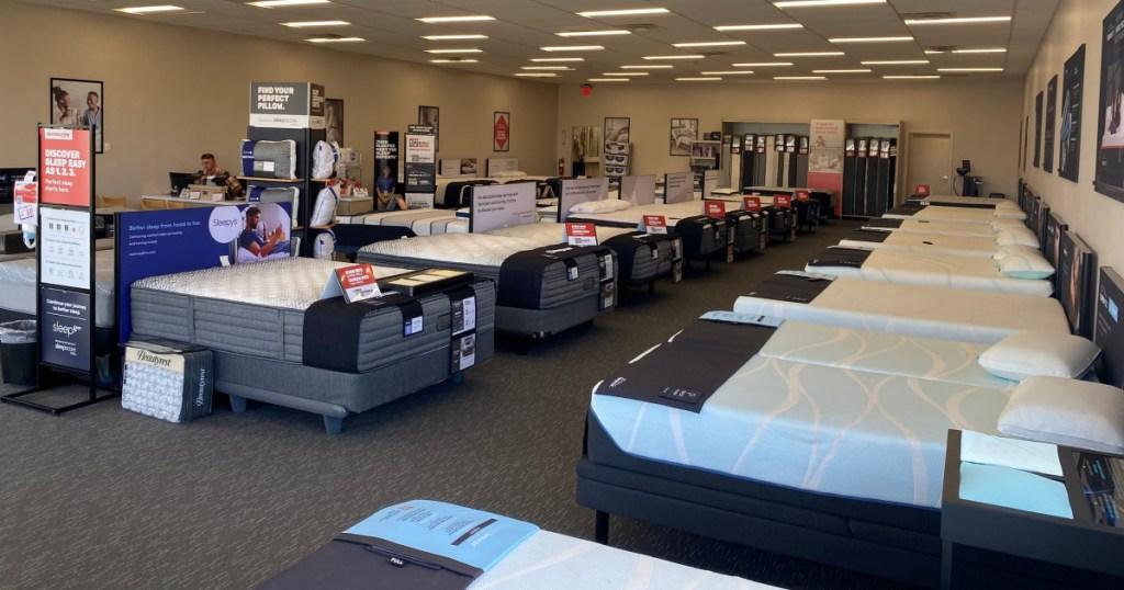 many mattresses in mattress firm store