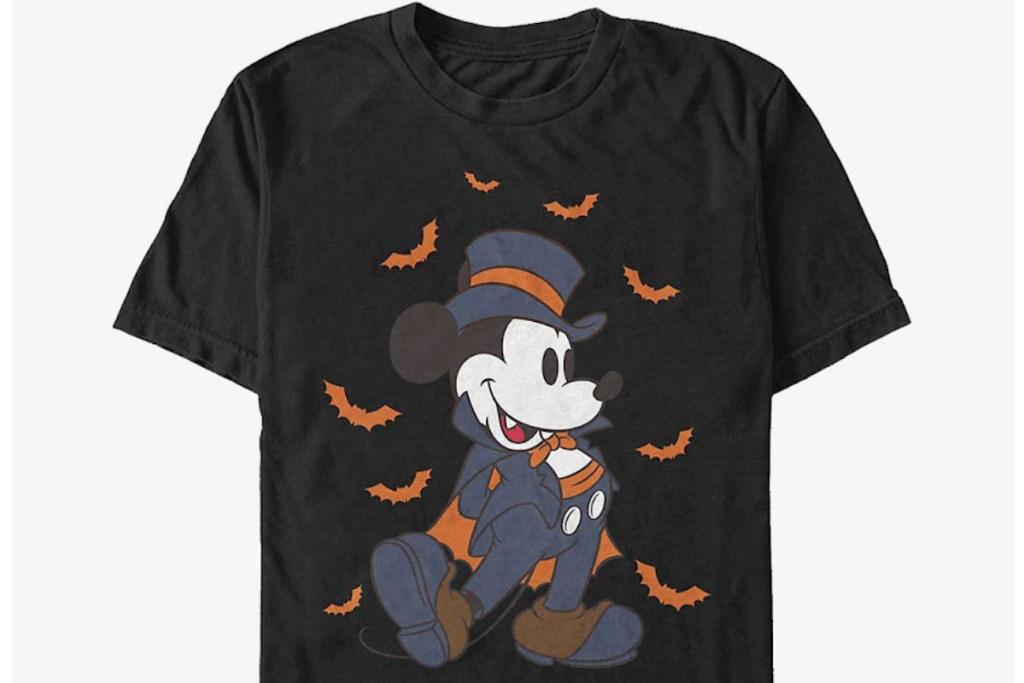 mickey as vampire t shirt with bats