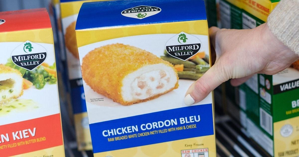 holding a box of frozen chicken cordon bleu