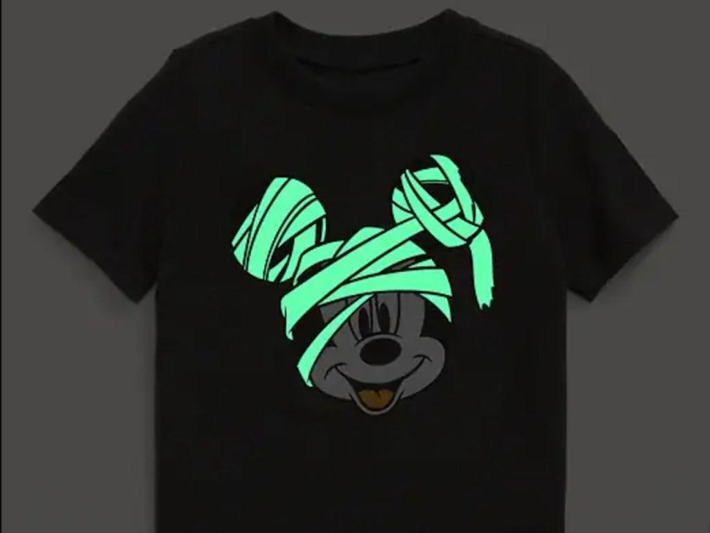 mummy mickey glow in the dark tee shirt