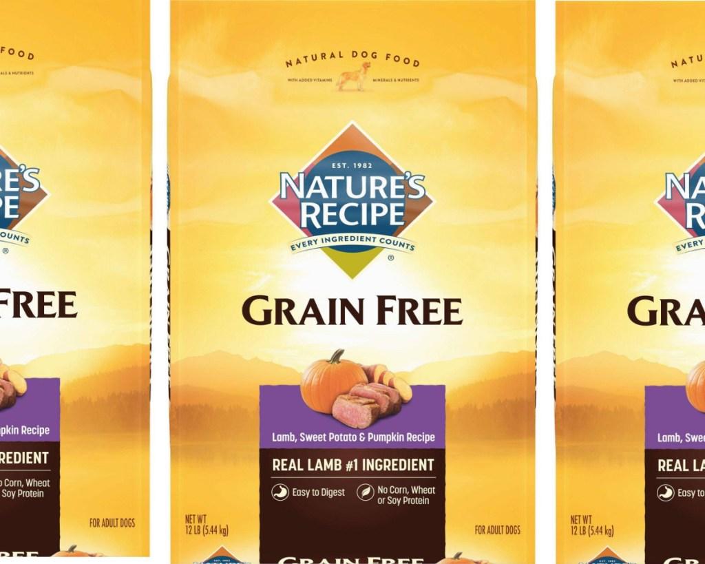natures recipe dog food bag