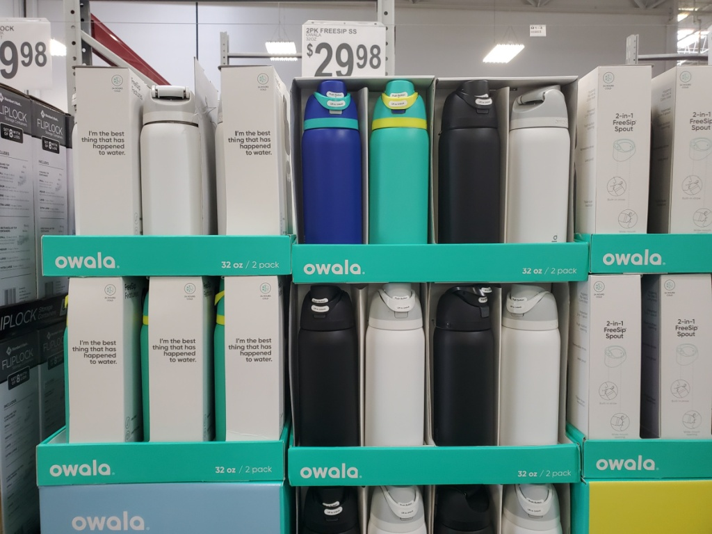 water bottle display in store