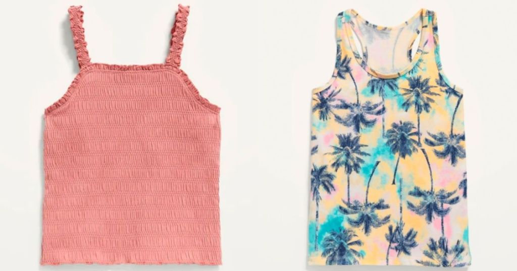 pink pinched tank and palm tree tank