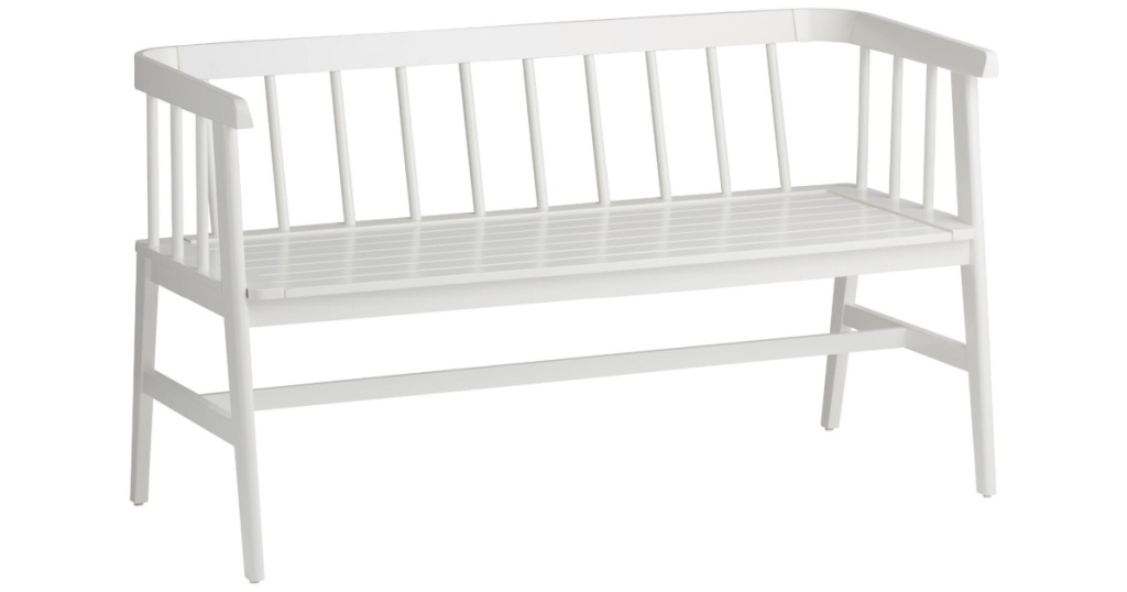 white bench and plant