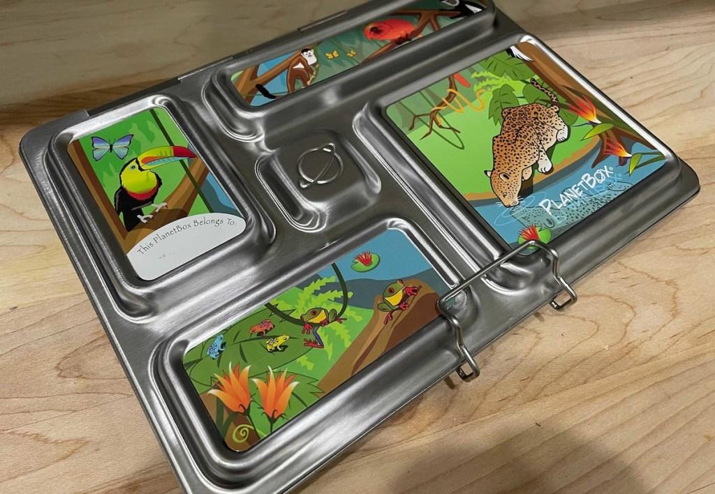 close up of safari themed bento box on countertop