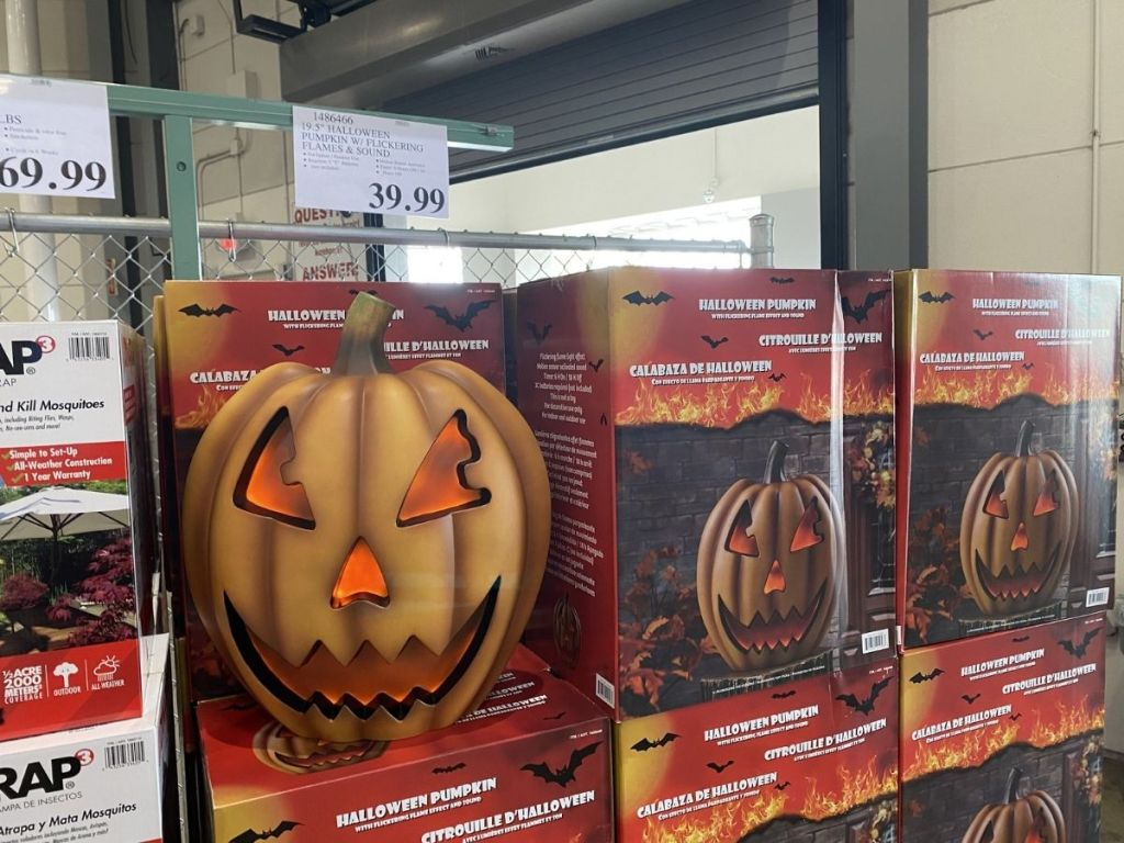 pumpkin with flames decor in store