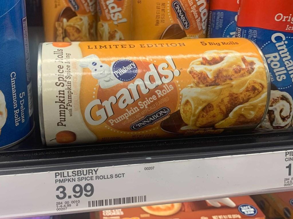 pumpkin spice rolls on shelf at Target