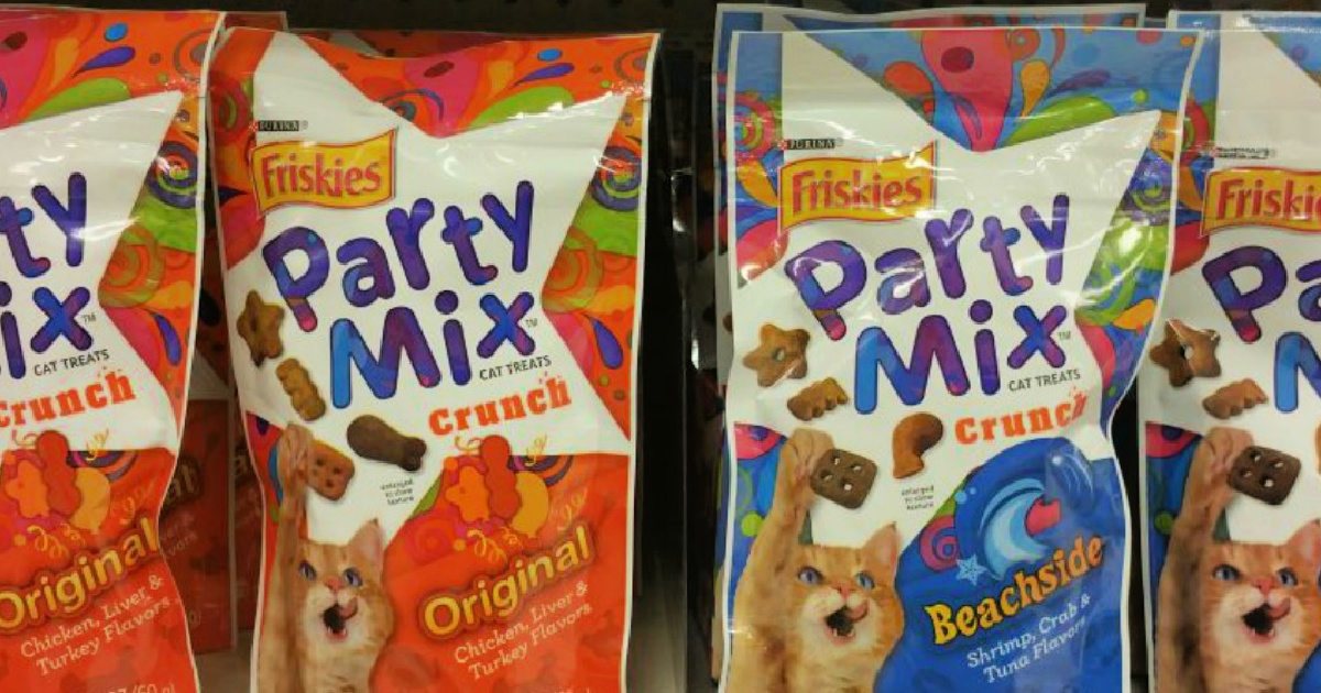 packages of cat treats on a store shelf