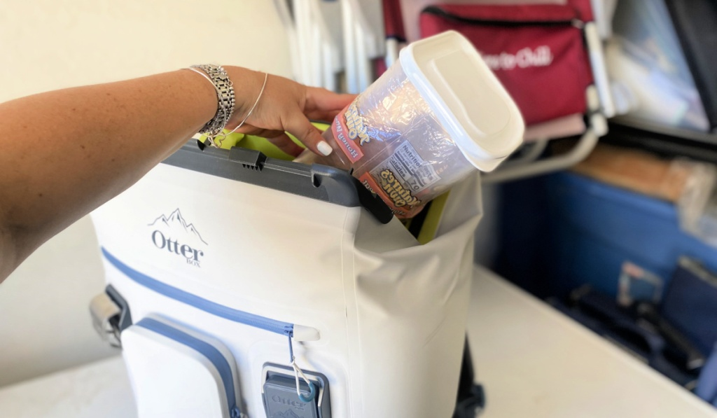 putting sandwiches in a cooler