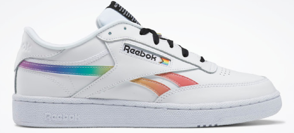 white and rainbow color Reebok shoes