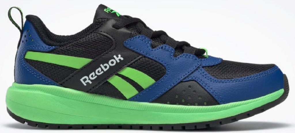blue and green reebok shoe
