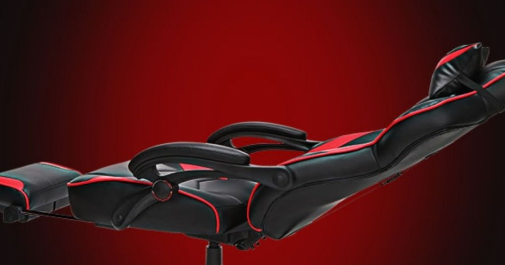 black and red gaming chair reclined