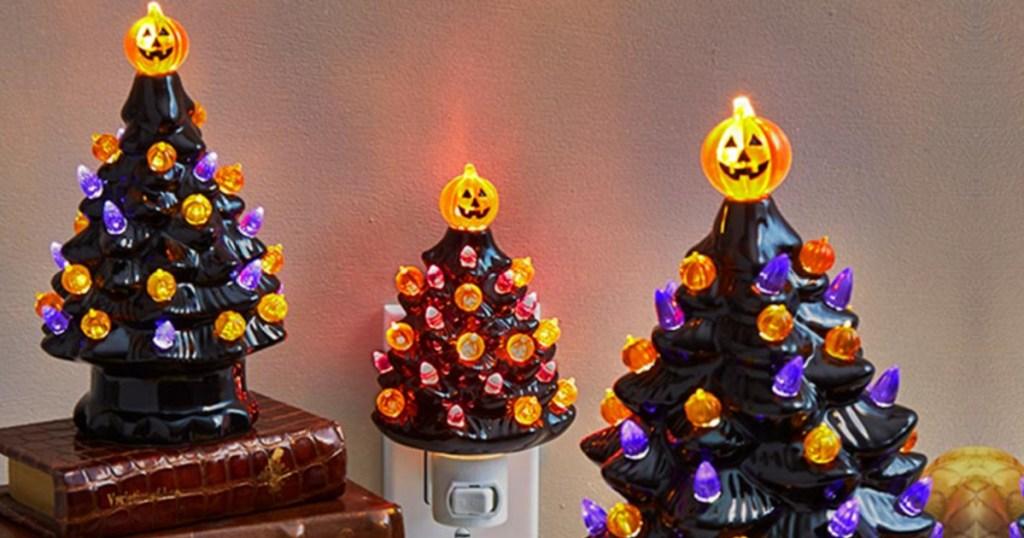 retro ceramic lighted trees