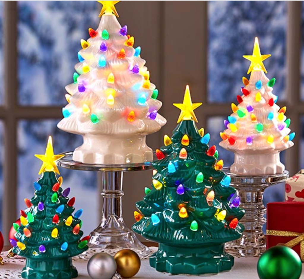 retro lighted christmas trees green or white