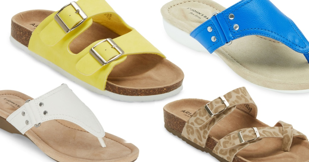 several pairs of colorful women's sandals