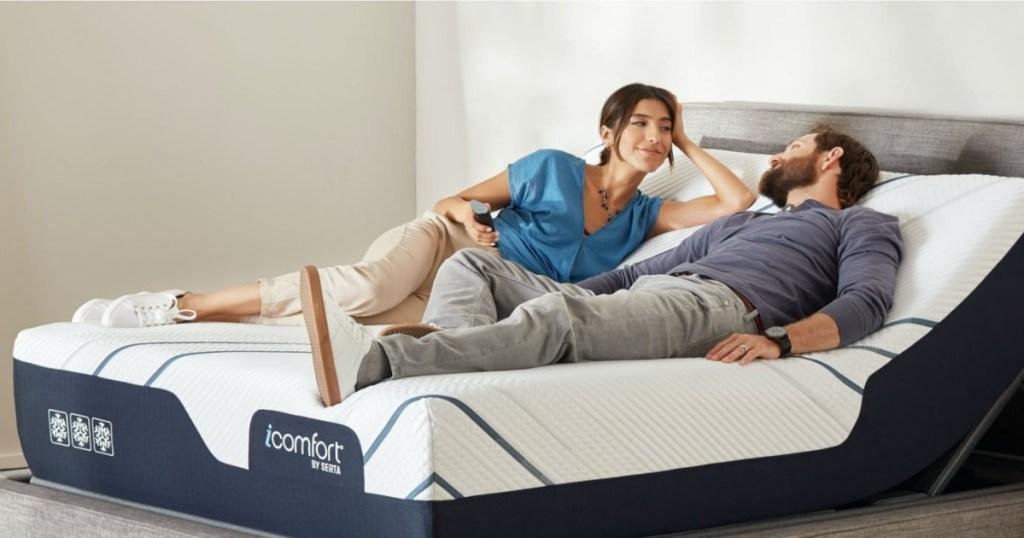 couple on reclining mattress