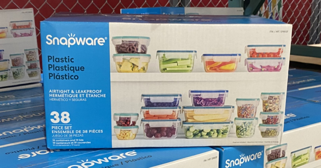 box of plasticware on top of other boxes in store