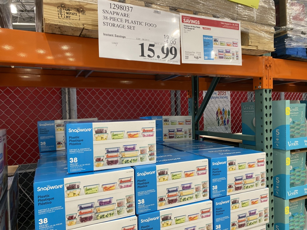 store aisle with boxes of plastic containers and prices