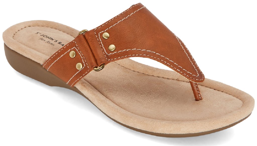 one sandal with taupe strap