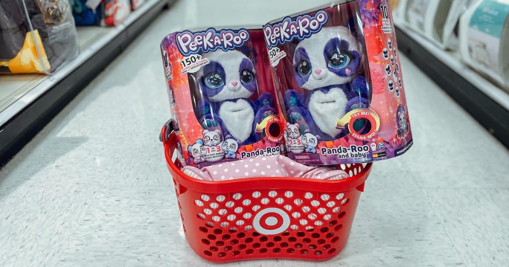 two peek a roo kids toys in red target shopping basket