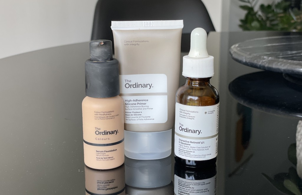 the ordinary skincare and makeup on table