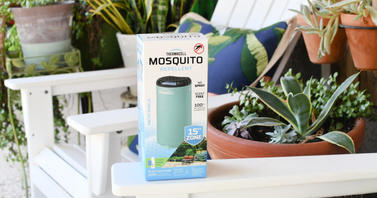 thermacell patio shield mosquito repellent on the patio
