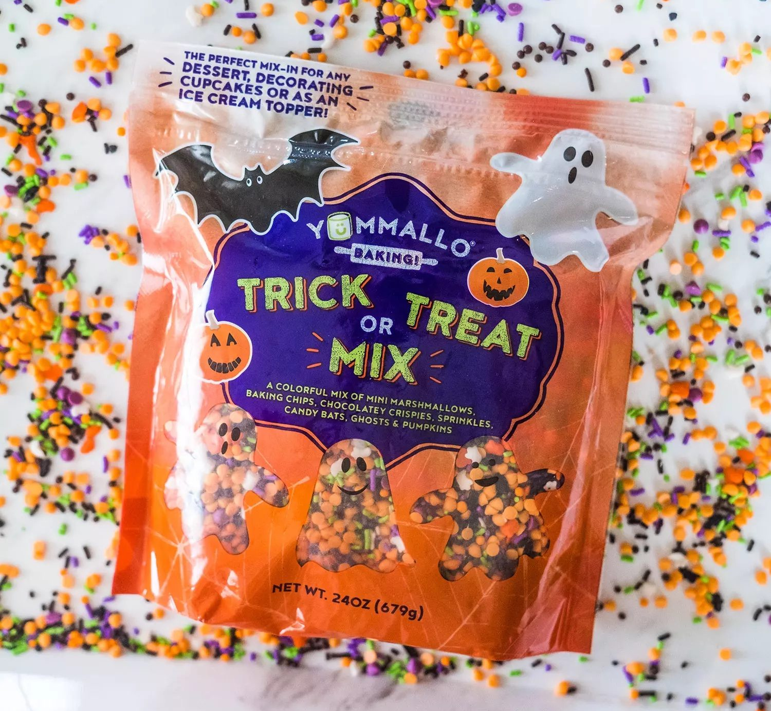 yummalo Trick or Treat Mix in bag on top of sprinkles