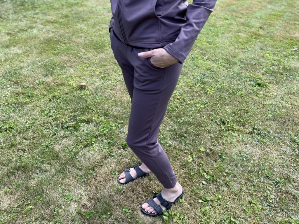 woman wearing 32 degrees fleece tech joggers