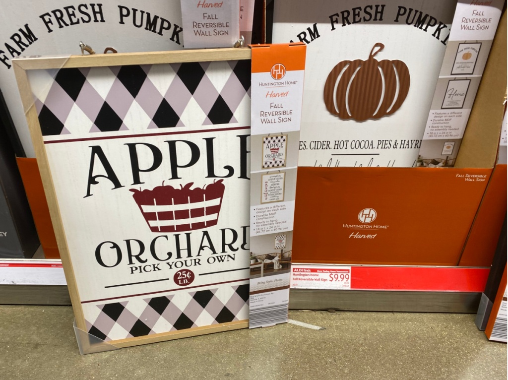 fall-themed Apple orchard wall art on display in ALDI