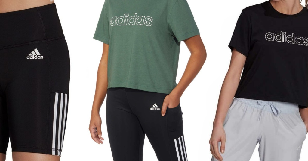3 people wearing bike shorts and tees with Adidas logo