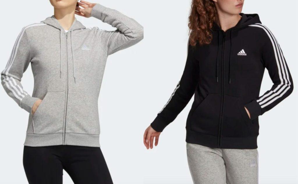 2 women wearing adidas hoodies