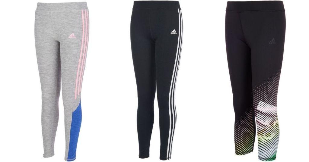 three pairs of Adidas leggings