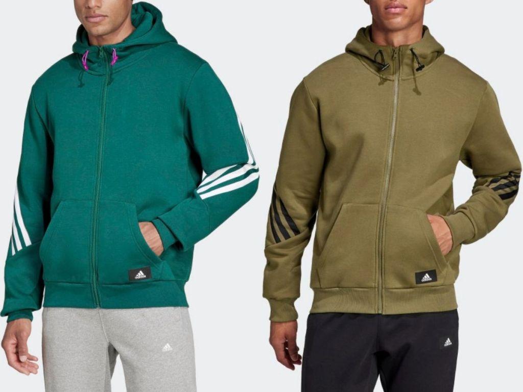 two menw wearing Adidas Sweatshirts