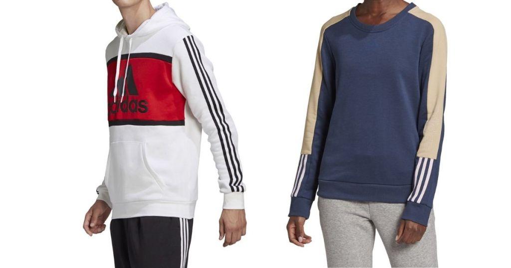 two people wearing Adidas sweatshirts
