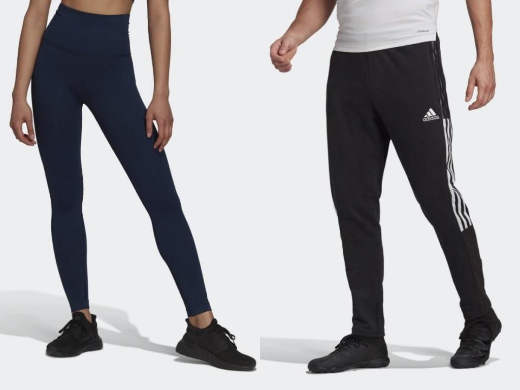 adidas women's formotion tights and men's tiro sweatpants
