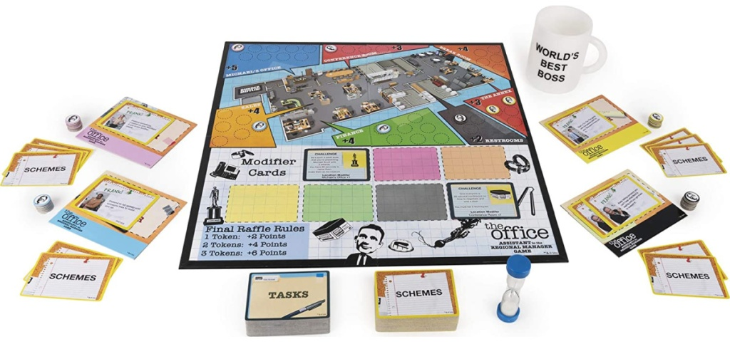the office board game with cards and mug